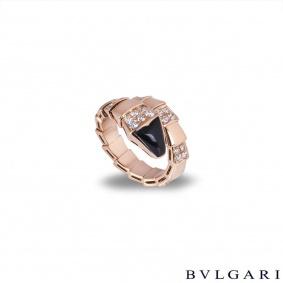 Bvlgari Rose Gold Diamond & Onyx Serpenti Ring